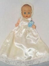 """Cute 8"""" Vintage Molded Hair Baby Doll In Satin Gown W/Teddy"""
