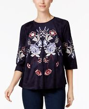 Charter Club Embroidered Faux-Suede Top in Blue, size XL