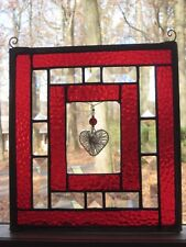 LOVE-ly heart stained glass panel window