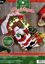 "Bucilla Santa Is Here ~ 18"" Felt Christmas Stocking Kit #86893 LED Lights, House"