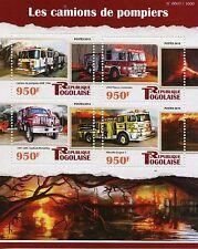 Togo 2015 MNH Fire Engines 4v M/S Trucks KME 1996 Pierce Contender Pikeville