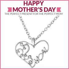 Mothers Day Gift Mom Necklace Silver Heart Pendant w Chain Swarovski Crystal 20""