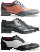 Men spectator Two Tone, Black Brown Matte wingtip, Brogue, gangster oxford shoes