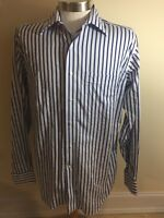 Mens Tommy Bahama Sz 15.5 34-35 Blue Stripes Button Up Long Sleeve Cotton Shirt