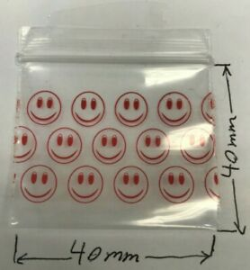 100 NEW 40x40 mm Smiley Small Plastic Bags Baggy Grip Seal Zip 4x4 cm UK FAST PP