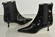 NEW Manolo Blahnik SHOT 50 Black Patent Leather Boots Kitten Heels Shoes 41.5
