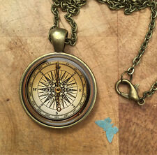 Vintage Compass  Glass Dome Round Cabochon Necklace Pendant Gift UK