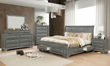 NEW Transitional Gray Bedroom Furniture - 5pcs Queen Sleigh Storage Bed Set ICAO