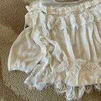 L Bohemian Battenburg Lace White Peasant Blouse Top Vtg Insp Women's LARGE NWT