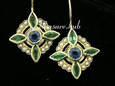 CE199 Genuine 9ct Gold Natural Sapphire, Emerald & Pearl Earrings Vintage style