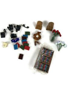 Vintage Miniature Dollhouse Rare Accessories cuckoo clock telephone bookcase rad