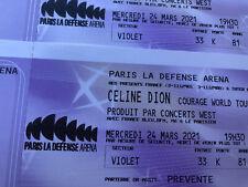 2 places carré OR concert Céline Dion Courage Tour 24/03/21 Paris Défénse Arena