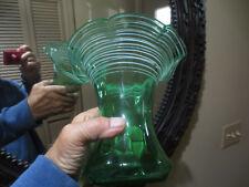 STEUBEN ART GLASS DIAMOND OPTIC GREEN VASE WITH WHITE THREADING MARKED STEUBEN