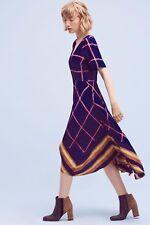 New Anthropologie Striped Pane Midi Dress sz 6 by HD in Paris $158 Blue Pink