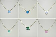 OPAL Star of David with 14kt Gold Filled Chain NECKLACE Blue, Green, White, Pink