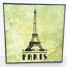 Paris Canvas Wooden Framed Sign Wall Art Home Deco Map of France