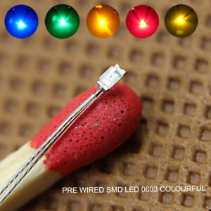 20pcs Pre-soldered Micro Litz Wired Leads SMD 0603 LED Light Different Colors