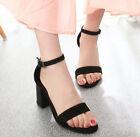 Women Strappy Buckle Block Heels Open Toe Sandals Ankle Strap Pumps Shoes Black