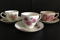 Vintage Lot Of 3 Pink Floral Bone China And Ironstone Teacups/Saucers England