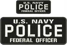 U.S. NAVY POLICE FEDERAL OFFICER Embroidery Patch 4X10(&)2X5 HOOK ON BACKblk/whi