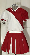 Vintage Cheerleader Uniform Top And Skirt White And Red 1960s