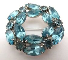 Vintage Blue Rhinestones Brooch~Pin Prong Set Very Nice 1 3/4""