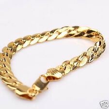 "Carved Herringbone Chain 7.87"" Vogue 24k Yellow Gold Filled Mens Womens Bracelet"