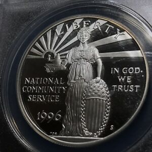 1996-S $1  NATIONAL COMMUNITY SERVICE SILVER PROOF DCAM ANACS CERTIFIED