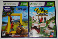 XBox 360 KINECT Game Lot - Rabbids Invasion (New) Kinect NAT GEO TV (New)
