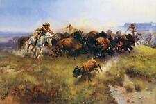 The Buffalo Hunt by Charles Russell Bison Western Native American Horses 24x36