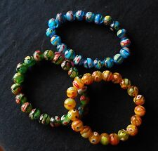 Multi Color Murano Millefiori Glass Set of 3 Bracelets