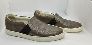 Lanvin Silver/Brown Leather Slip-on Trainers, Size 37, US 6, AU 5.5