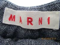 MARNI Navy Blue/ White Trousers Straight Leg  EU 44 UK 12 USA 8