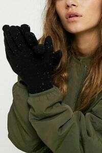 UO Urban Outfitters Women's Super Soft Gloves Black Fleck Wool Blend BNWT RP £15