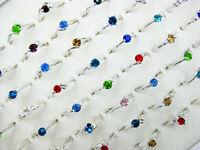Wholesale Lots Jewelry 50Pcs Crystal CZ Rhinestone Silver Plate Rings J121