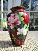 "VTG Japanese Ginbari Red Pigeon Blood Cloisonne Flower Vase Brass Rim 4.5"" H"