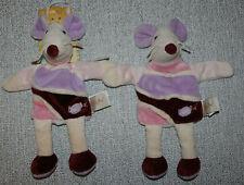 BABYNAT BABY NAT 2 DOUDOU SOURIS PLAT MARIONNETTE ROSE VIOLET NEUF+2° KDO BE