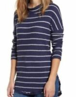 Caslon Women's Thermal Waffle Knit Tunic Blue White Stripe Medium Petite MSRP 49