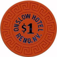 1977 Onslow Hotel $1 Reno, Nevada NV Large Key Mold Blue Hot Stamp Casino Chip