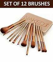 12pcs Makeup Brush Set With Gold Metal Case Brand New High Quality Brushes
