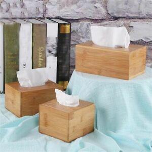 Wooden Tissue Box Holder Cover Rectangular Square Wipes Dispenser Paper Bamboo