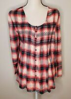 Altard State Size Medium Women's Top Flannel Pink Plaid Flowy Bell Sleeve Shirt