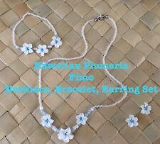 Hawaiian Plumeria Flower Fimo Necklace Bracelet Earring Set BLUE Wedding Bridal
