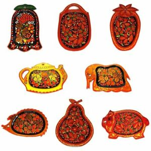 Plate Russian Khokhloma Wooden Hand-painted Handmade Kitchen New 1 pc
