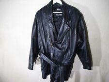 WILSONS Men's Black Leather Jacket With Belt - Large - 1 Belt Loop Needs Repair