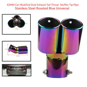 63MM Stainless Steel Auto Car Modified Dual Exhaust Tail Throat Muffler Tip Pipe