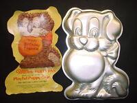 VINTAGE Wilton LG PLAYFUL PUPPY cake pan DOG metal baking mold ANIMAL tin INSERT