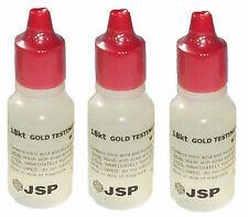 THREE 3 NEW FRESH JSP 18K GOLD ACID TESTING SOLUTION SQUEEZE BOTTLE TEST TESTER