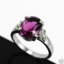 White Gold gp 2.0 Oval Cut Amethyst Purple Anniversary Wedding Ring Sz 5 6 7 8 9