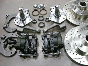"""MUSTANG II FRONT 11"""" DRILLED SLOTTED FORD ROTORS DISC BRAKE KIT 2"""" DROP SPINDLE"""